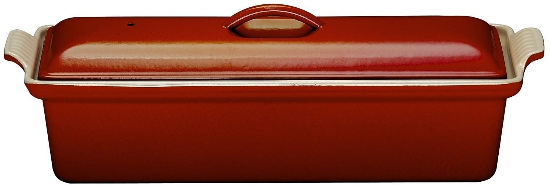 Le Creuset 25024280602260 - Terrina rectangular de hierro colado esmaltado, 1,10 l, 8 personas, 28 x 11 cm, color cereza: Amazon.es: Hogar