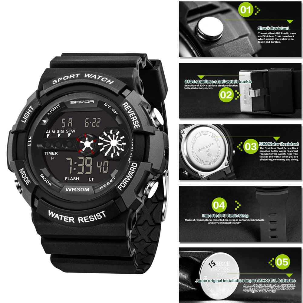 Amazon.com: Goodfeng Waterproof Digit Electronic Luminous Sport Watch for Sanda Sport Classic Business Wristwatch for Gifts (Black): Cell Phones & ...