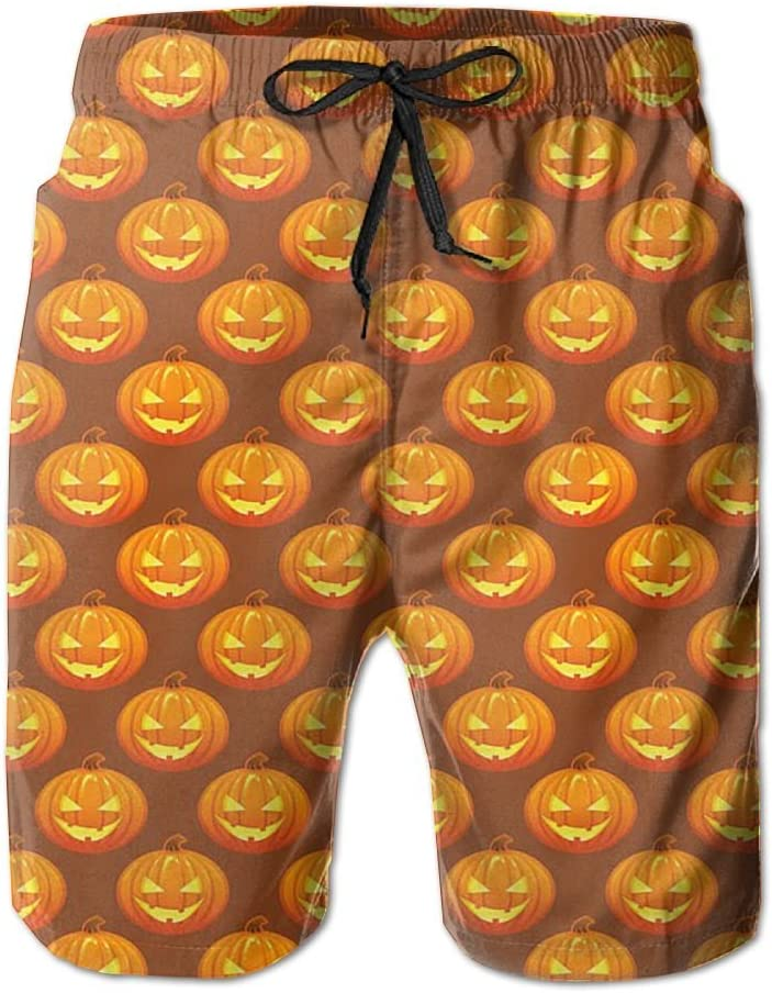 Mens Cool Pumpkin Halloween Pattern Shorts Elastic Waist Pockets Lightweight Beach Shorts Boardshort