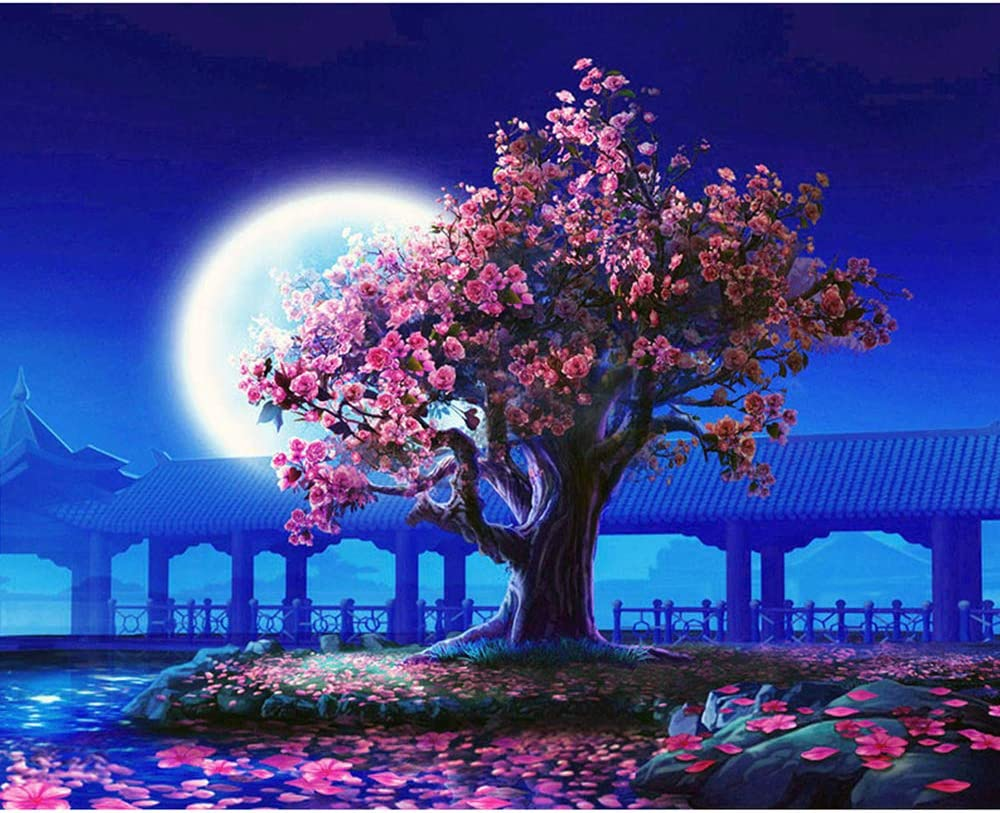 DIY Acrylic Painting by Numbers Kit for Adults, Japanese Emperor's Garden Cherry Moon Tree Night Framed on Large 16X20 Inch Wooden Canvas, 3 Brushes, Mounting Hardware + Magnifying Glass