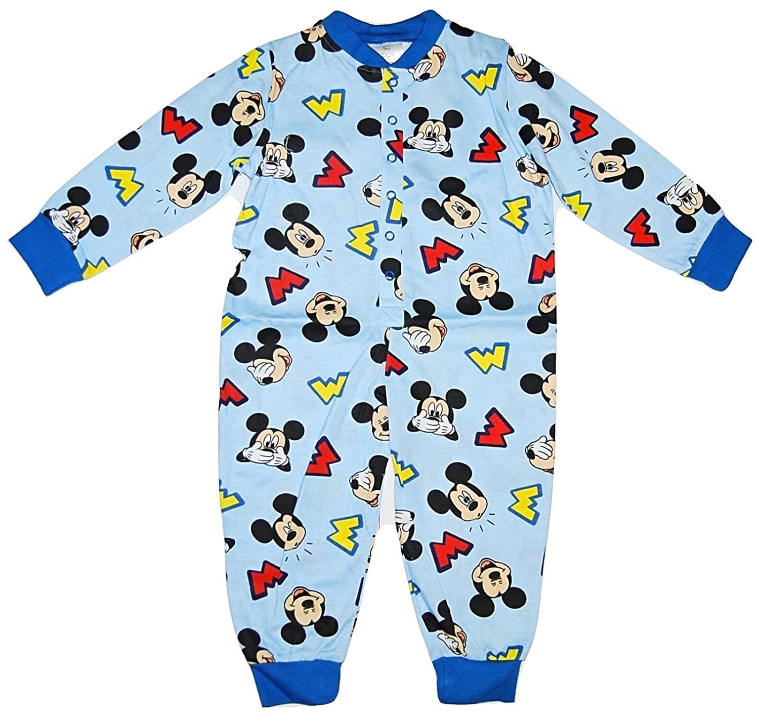 Boys Pyjamas All Inn One Jumpsuit Disney Mickey Mouse Blue 1-5 Years