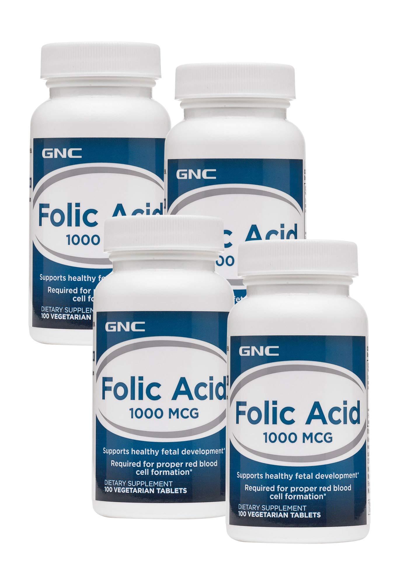 GNC Folic Acid 1000 MCG - 4 Pack