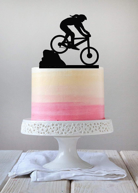 Decoración para tarta con diseño de bicicleta de montaña con cola de caballo, acrílico o abedul báltico: Amazon.es: Hogar