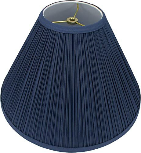 FenchelShades.com Lampshade 5 Top Diameter x 15 Bottom Diameter x 10 Slant Height with Washer Spider Attachment for Lamps with a Harp Pleated Navy