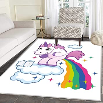 Amazon Com Funny Rugs For Bedroom Unicorn Pooping Rainbow Over
