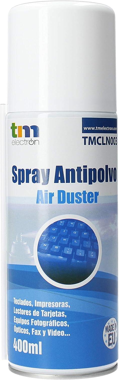 TM Electron TMCLN003 - Limpiador de Gas Aire comprimido para Dispositivos electrónicos, teclados, cámaras, Ordenadores portátiles, Conexiones y Otros, 400 ml, Color Blanco