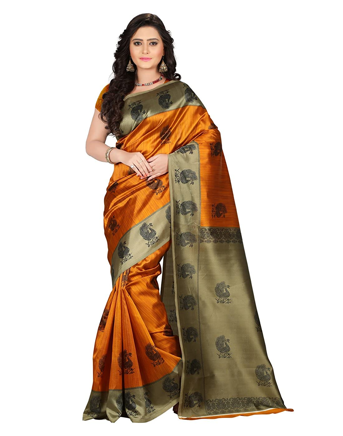 E-Vastram Women's Art Mysore Printed Silk Saree (Ns1A_Yellow_Free Size)