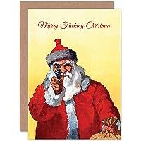 Card Merry Christmas Xmas Adult Theme Angry Santa Fun Gift