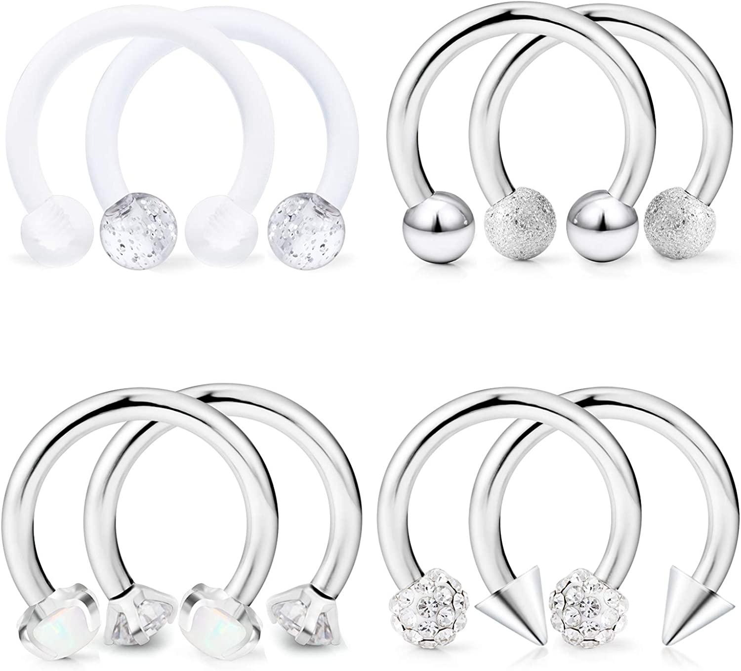Dyknasz Horseshoe Circular Barbell Clear CZ Opal Stone Nose Septum Rings Hoop Retainer for Women Men Helix Cartilage Tragus Earring 316L Surgical Steel 16G 5//16 8mm 10mm 3//8