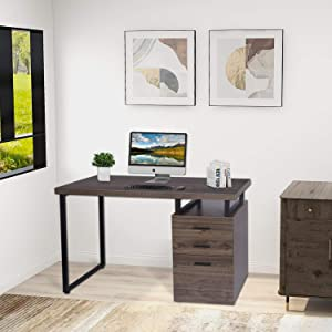 Industrial Computer Desk - 47 in Study Writing Table for Home Office PC Laptop Table Workstation with Drawer Cabinet, Left or Right Facing Design (47.2