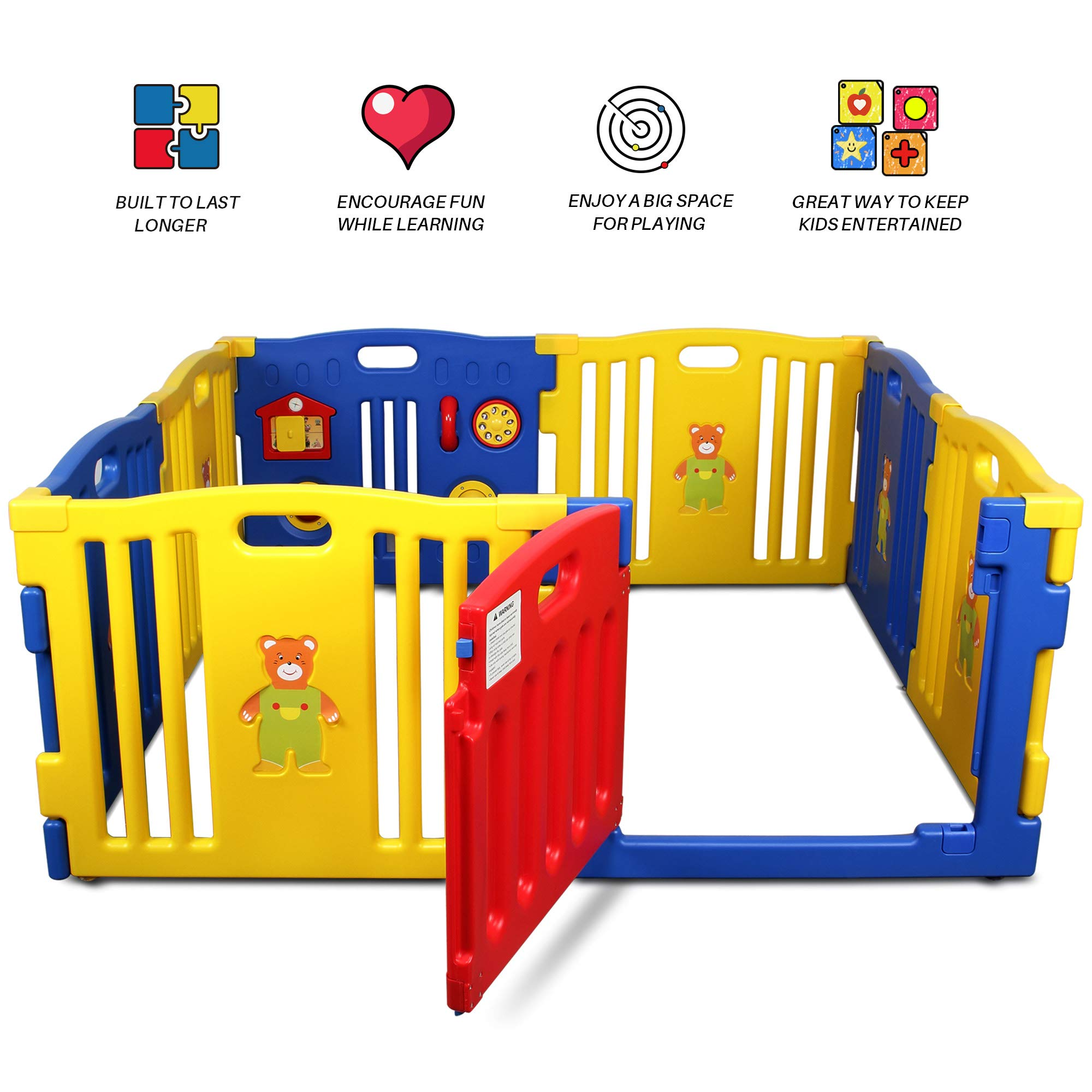 Baby Playpen for Babies Baby Play Yards 18 Panels Kids Activity Centre Indoor Outdoor Fence with Activity Board America CPC Approved