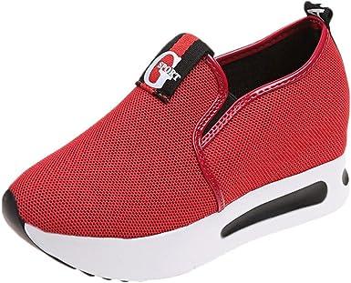 Zapatillas Deportivas de Mujer,YiYLunneo Malla Exterior Shoes Deportivas Informales Sneakers con Amortiguación Aire con Suela Gruesa Zapato CN 35-40: Amazon.es: Ropa y accesorios