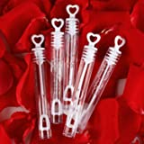 56 Pack Mini White Heart Bubble Wands- Perfect Bubble Toy Ideal Party Favors for Weddings Support and Anniversaries…