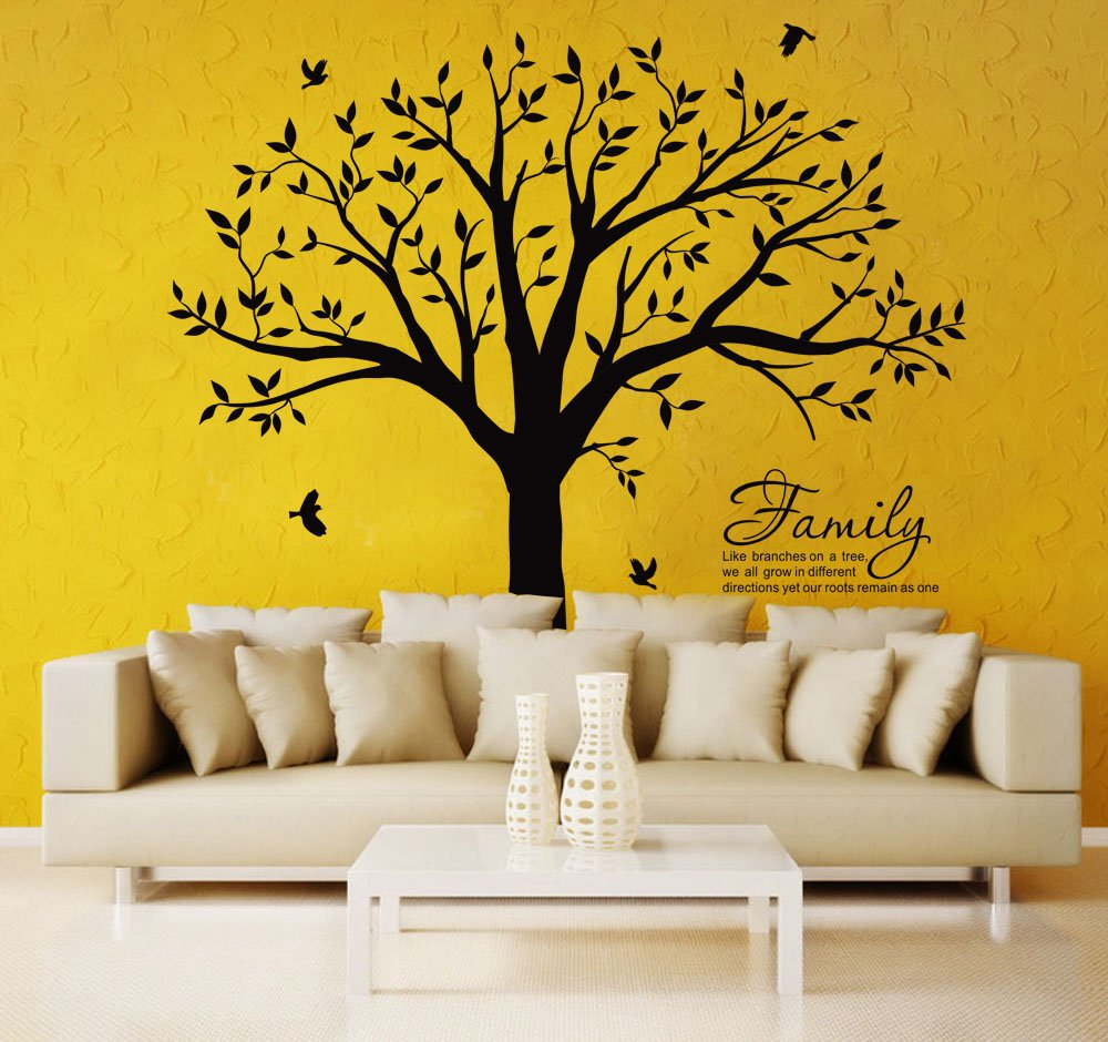 LSKOO Large Family Tree Wall Decal With Family Llike Branches on a Tree Wall Decals Wall Sticks Wall Decorations for Living Room (Black) by LSKOO (Image #3)
