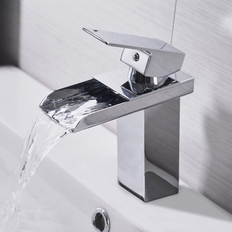 Waschtischarmatur und Wasserhahn Wasserfall 120/° Drehbar Einhebel Hei/ßer und kalter Mix Wasserhahn mit Filter Netz Armatur f/ür Bad Gr/ö/ße:16*13.5*5cm