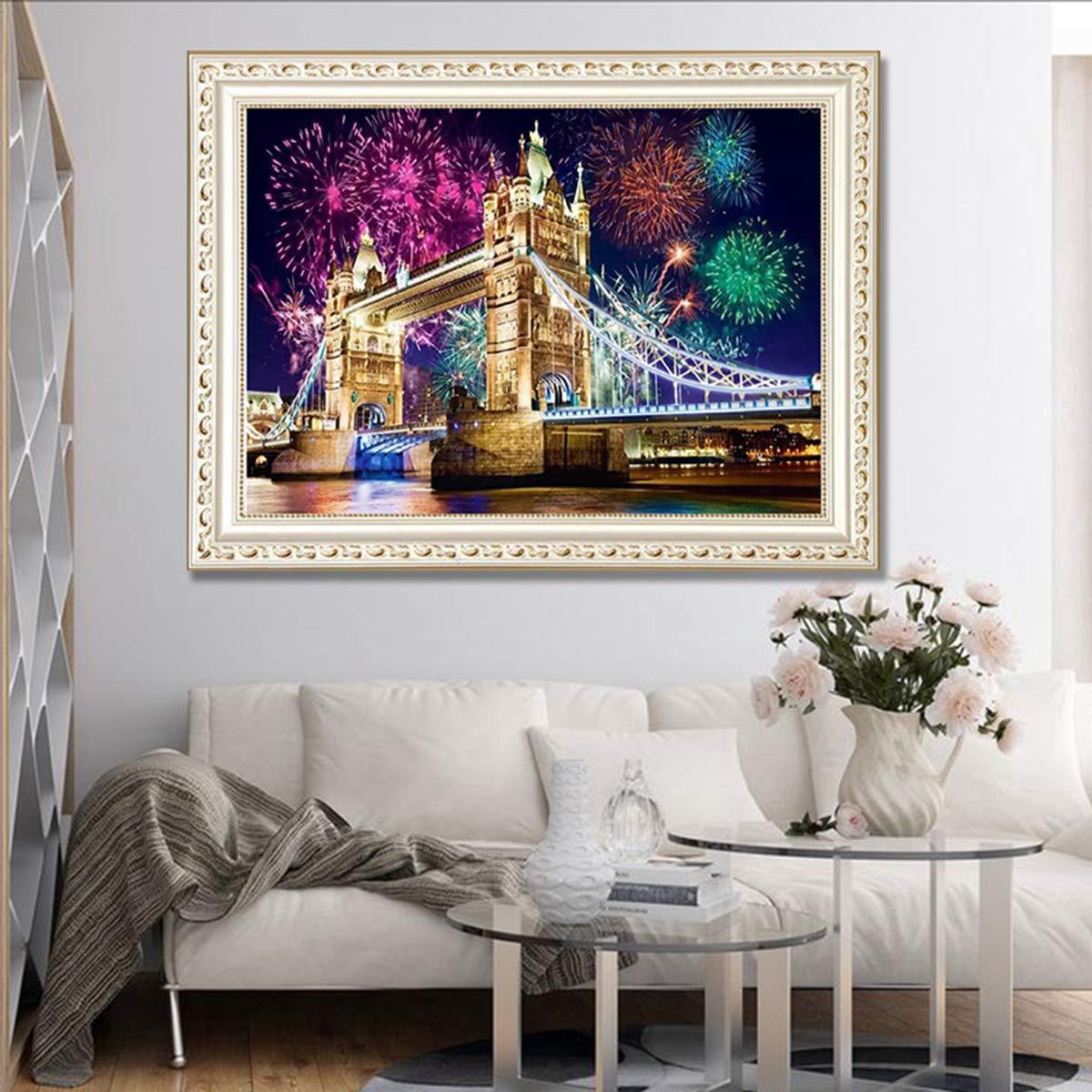 London Tower Bridge, 40x30CM Crystal Rhinestone Diamond Embroidery Paintings Arts Craft Home Wall Decor DIY 5D Full Drill Diamond Painting Kits for Adults Kids