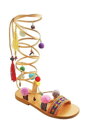 f557300786c6 Calpas Handmade Pom Pom Tie Up Gladiator Sandals Mardi Gras (6 US Women)