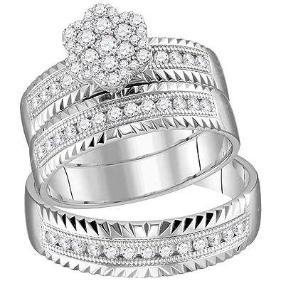 Juego de anillos de boda de oro blanco de 14 quilates para él y ...