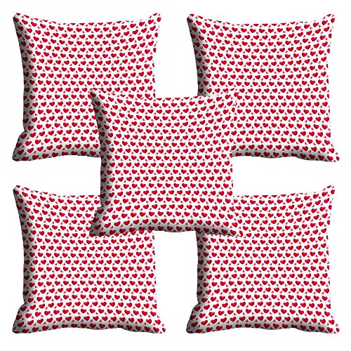 meSleep Red Heart Valentine Cushion Cover (16×16)