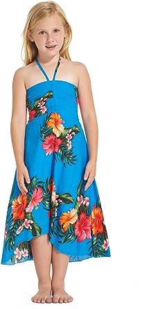 Girl Hawaiian Halter Dress in Hibiscus Blue
