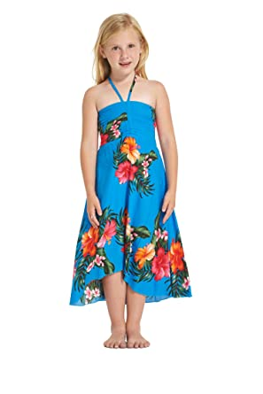 df2ecb5a4e61 Girl Hawaiian Butterfly Dress in Hibiscus Floral Colorful in Turquoise Blue  Size 2