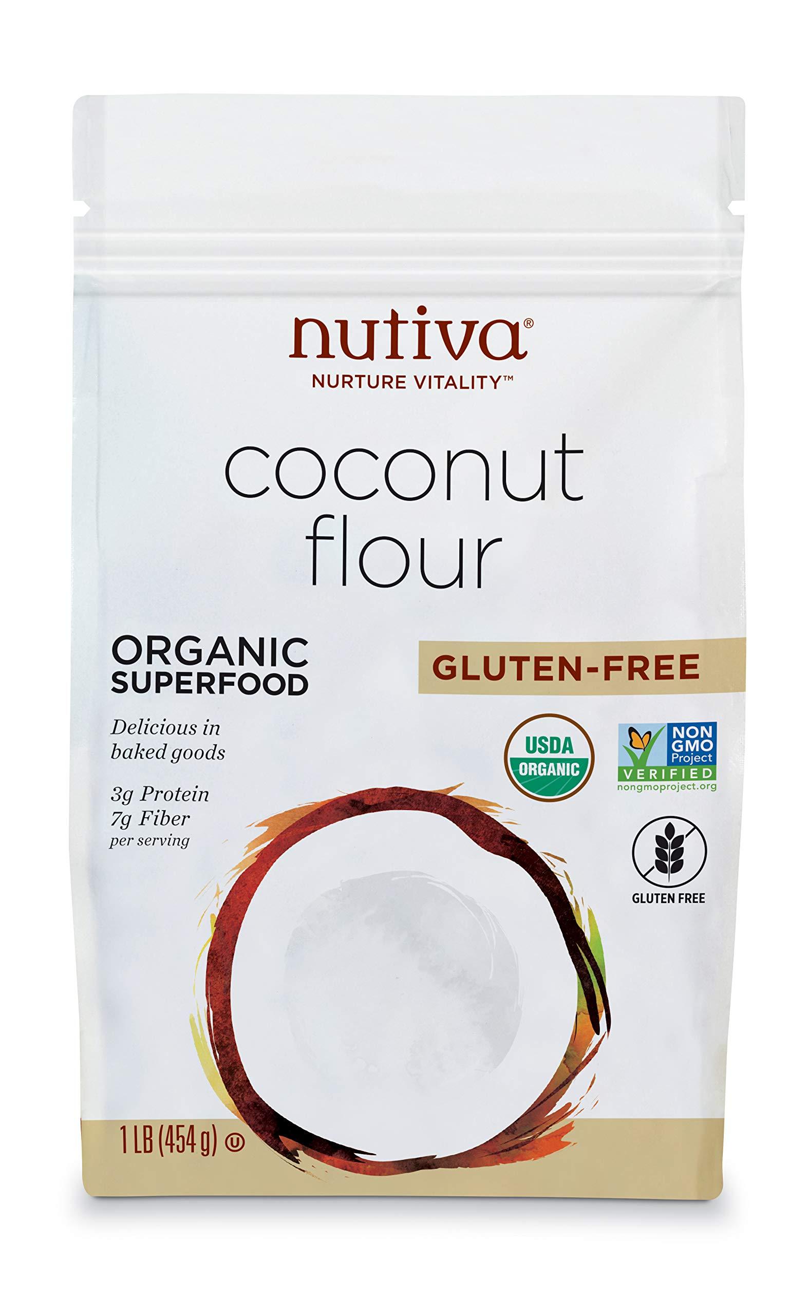 Nutiva USDA Certified Organic, non-GMO, Gluten-free Coconut Flour, 16-ounce (Pack of 6)