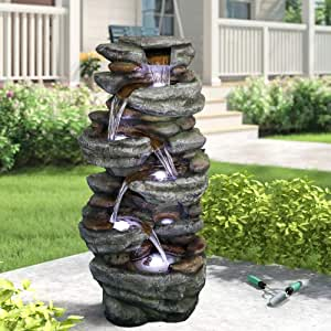 "PeterIvan Outdoor Relaxing Water Fountain - 40 3/5"" H 6-Tier Outdoor Fountain with 6 LED Lights, Stone-Liking Natural Looking Resin Waterfall Fountain for Patio, Garden, House&Office (40.6inch, Grey)"