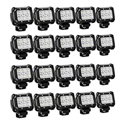 "Nilight 20PCS 18W 4"" Flood Led Light Bars Driving Fog Light Off Road Lights Boat Lights Driving Lights Led Work Lights SUV Jeep Lamps, 2 Years Warranty: Automotive"