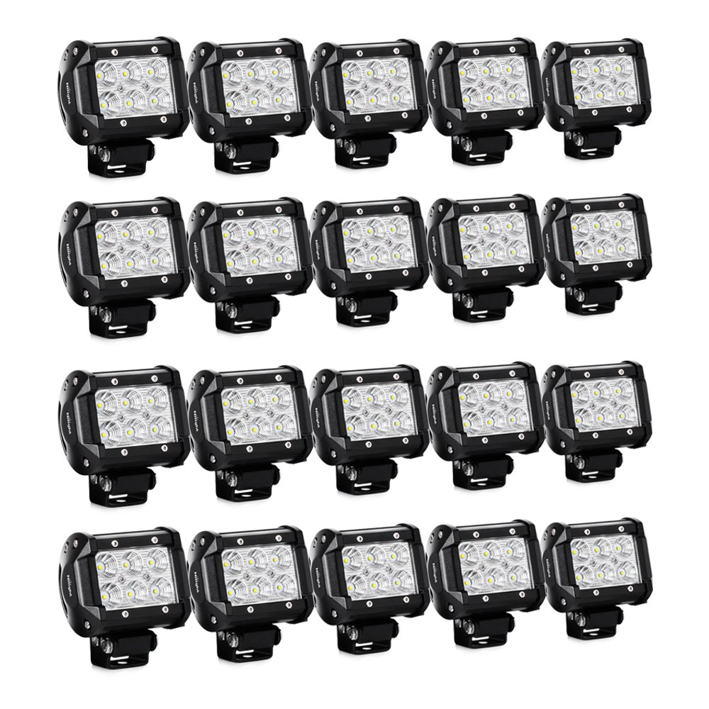 Nilight 20PCS 18W 4'' Flood Led Light Bars Driving Fog Light Off Road Lights Boat Lights Driving Lights Led Work Lights SUV Jeep Lamps, 2 Years Warranty by Nilight