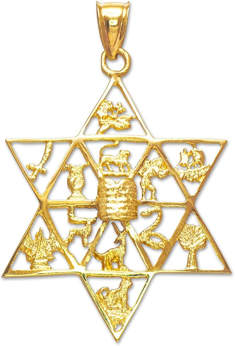 Brand New Solid 14k Yellow Gold Jewish Star of David Pendant Charm Reversible