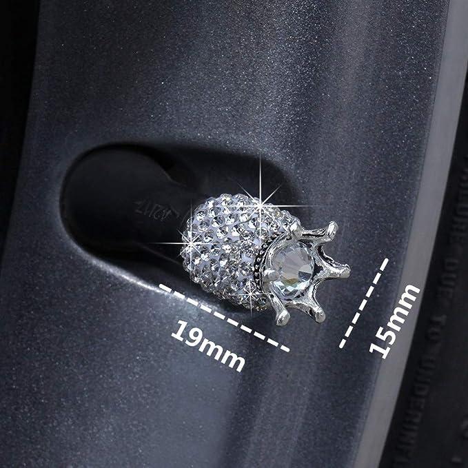 Kkmoon Ventilkappen Auto Kristall Ventilkappen Diamant Strass Neue Kreative Ventilkappe Für Auto Bus Lkw Suv Motorrad Fahrrad 4stücke Weiß Auto
