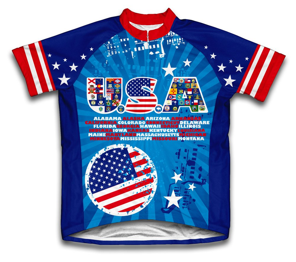 Amazon.com   ScudoPro USA All State Flags Short Sleeve Cycling Jersey for  Youth   Sports   Outdoors 6b6284064