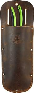 RingSun Pruner Leather Sheath-100% Fine Grain Leather-Garden Pruner Sheath, Protective Case Cover Scabbard for Gardening Pruning Shears Scissor,Brown,RS13