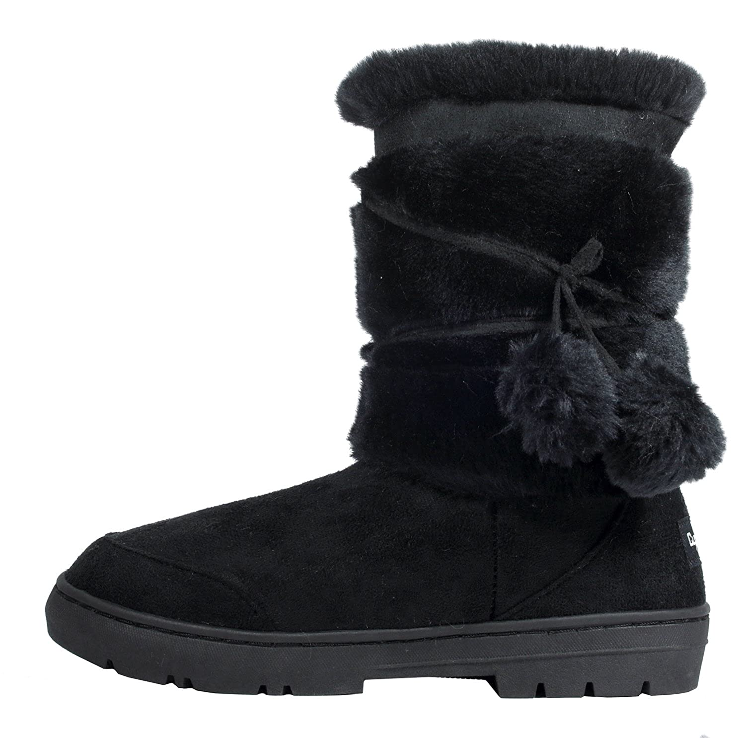 Clpp'li Womens Pom Pom Fully Fur Lined Waterproof Winter Snow Boots