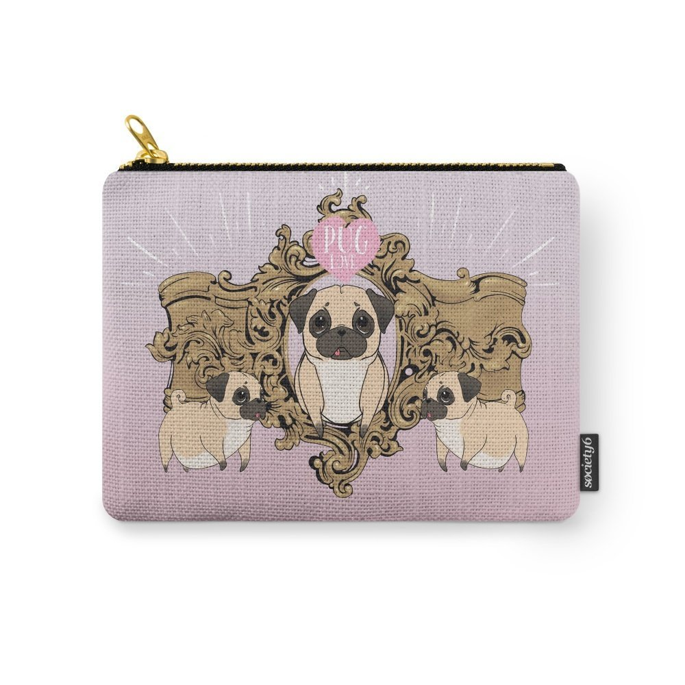Society6 Pug Love Carry-All Pouch Small (6'' x 5'')