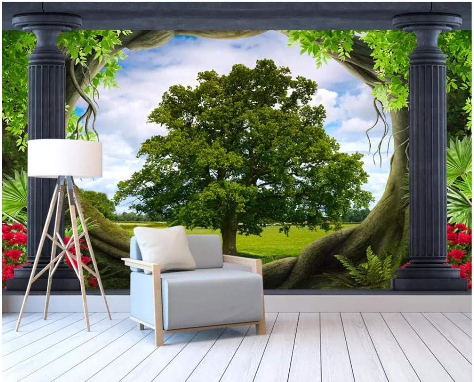 HCWYQ Papel Pintado para Paredes 3 D Columna Romana bosques Pradera Paisaje 3D Mural de la decoración del hogar de Papel de Pared para el Dormitorio Silk Cloth (W) 350x(H) 245cm: Amazon.es: