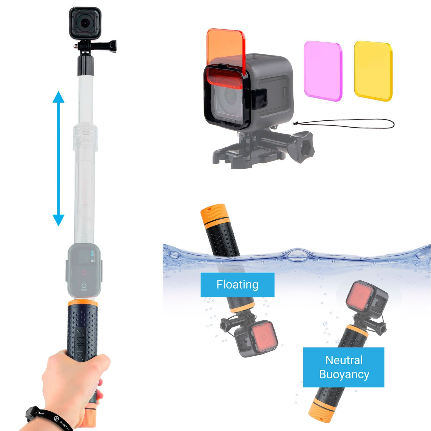 Watersports and Diving Bundle for GoPro HERO5 / 4 Session Camera including Modular Waterproof Telescopic Pole / Floating Hand Grip in one (6.7'' to 15.7'') and Diving Lens Filter Kit - Enhances Colors