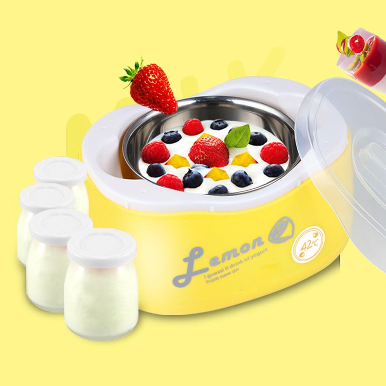 Lantusi 220V Plastic + stainless steel Electronic Yogurt Maker with 4 Pcs Glass Jars(1.2L) (Yellow)