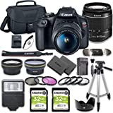 Canon EOS Rebel T7 DSLR Camera Bundle with Canon EF-S 18-55mm f/3.5-5.6 III Lens + 2pc Kingston 32GB Memory Cards…
