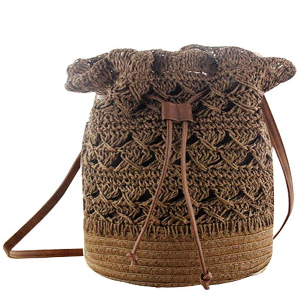 Donalworld Women Bucket Bag Drawstring Hobo Crochet Straw Shoulder Bag L Pt1
