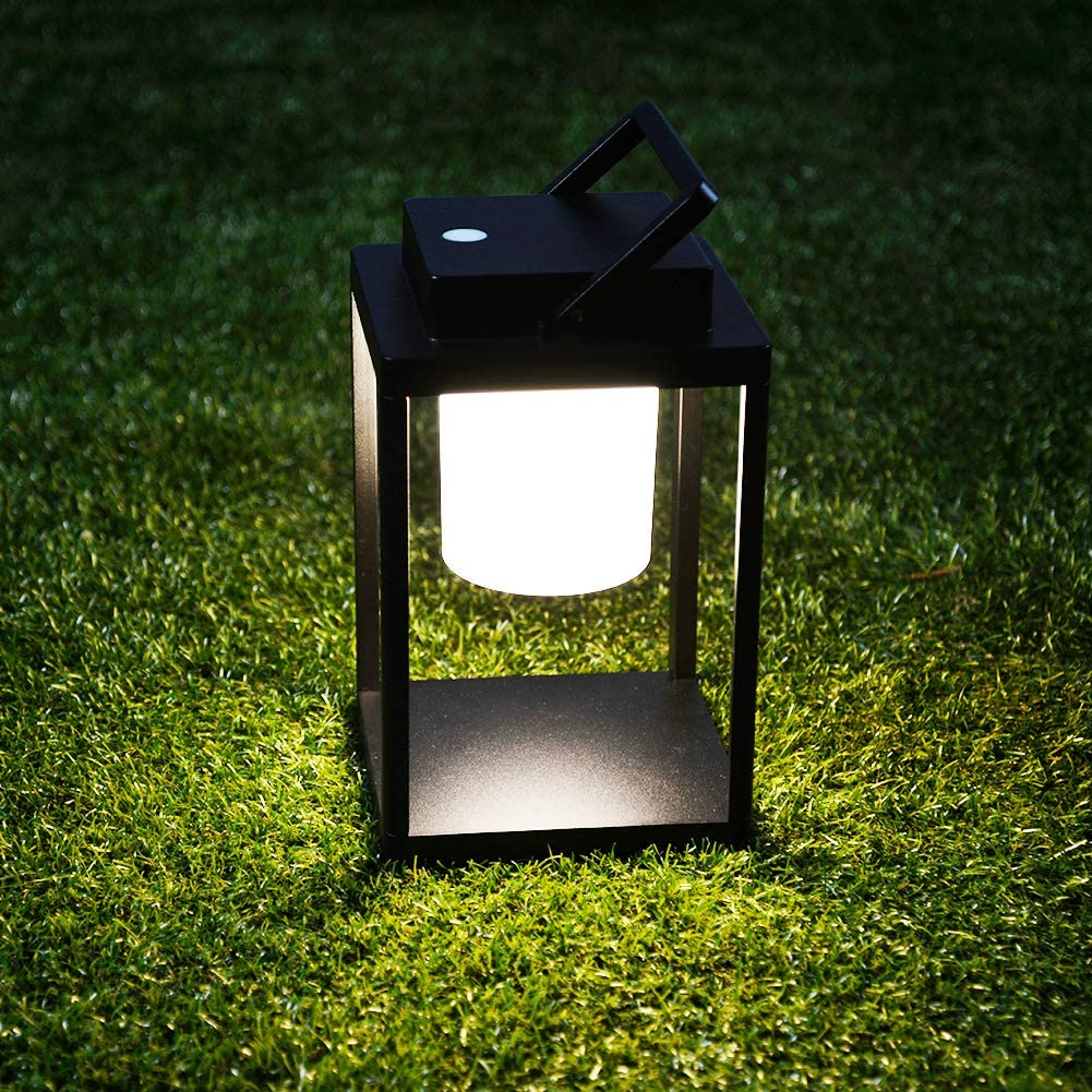 BRIMMEL Table Lantern Outdoor 35W Portable Hand Lamp Rechargeable Light IP44 Waterproof Endurance Cordless Decor Table Lamp Light Dating Drinking Reading Walking Camping, Aluminum, Black