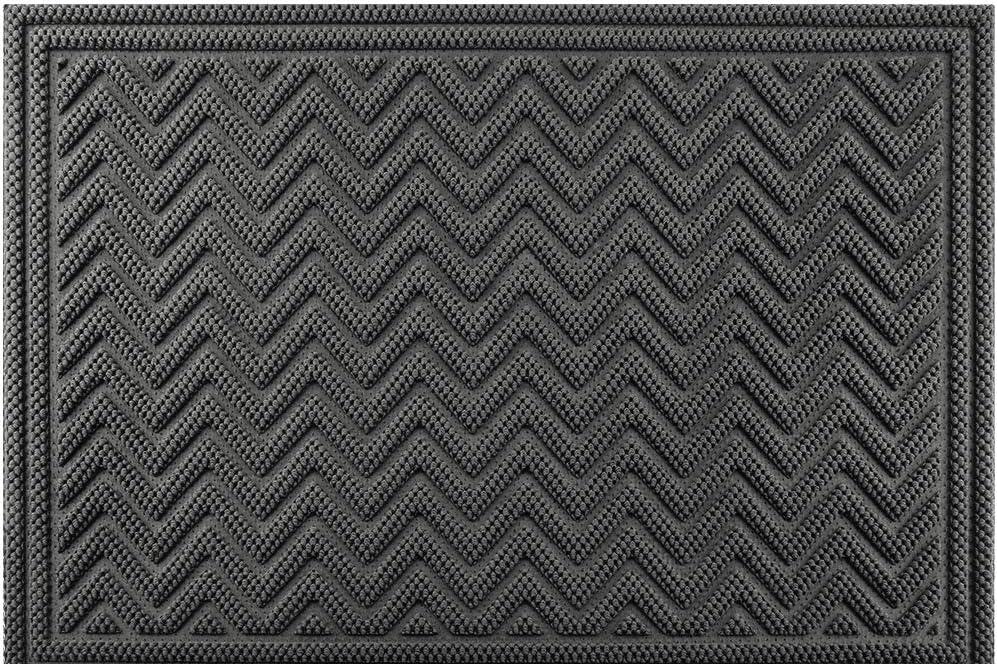 Black Durable Heavy Duty Rubber Fingertip Outdoor Entrance Mat 28 x 46
