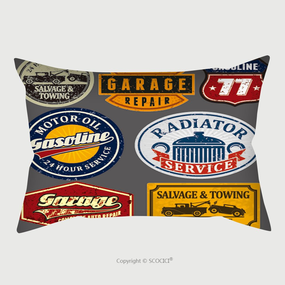 Custom Satin Pillowcase Protector Vintage Automotive Labels And Signs Set 116549308 Pillow Case Covers Decorative by chaoran