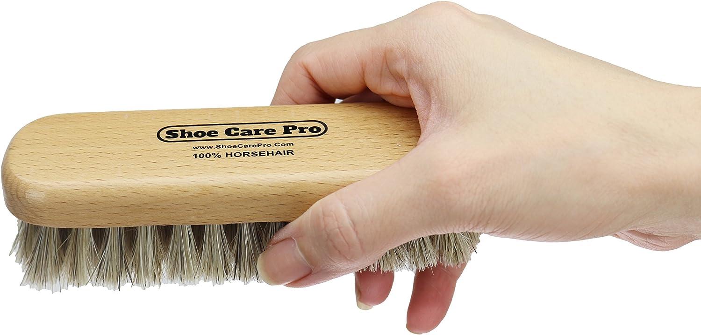 100/% Horsehair Dauber Shoe Shine Brush with Shoe Polish Applicator Travel Shoe Shine Kit.