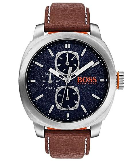 Hugo Boss Orange - Reloj Multiesfera para Hombre de Cuarzo con Correa en Cuero 1550027: Amazon.es: Relojes