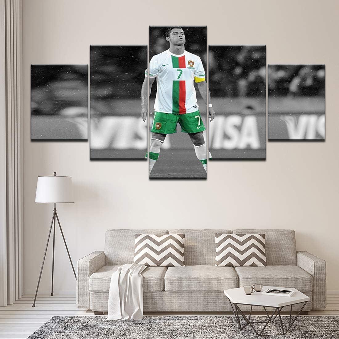 Angle&H 5 Piezas Modular Futbolín Mural Cristiano Ronaldo Cartel de Fondos de Pantalla Casa Sala de Niños Decoración Lona Impreso Pintura,B,40x60x2+40x100x1+40x80x2: Amazon.es: Hogar