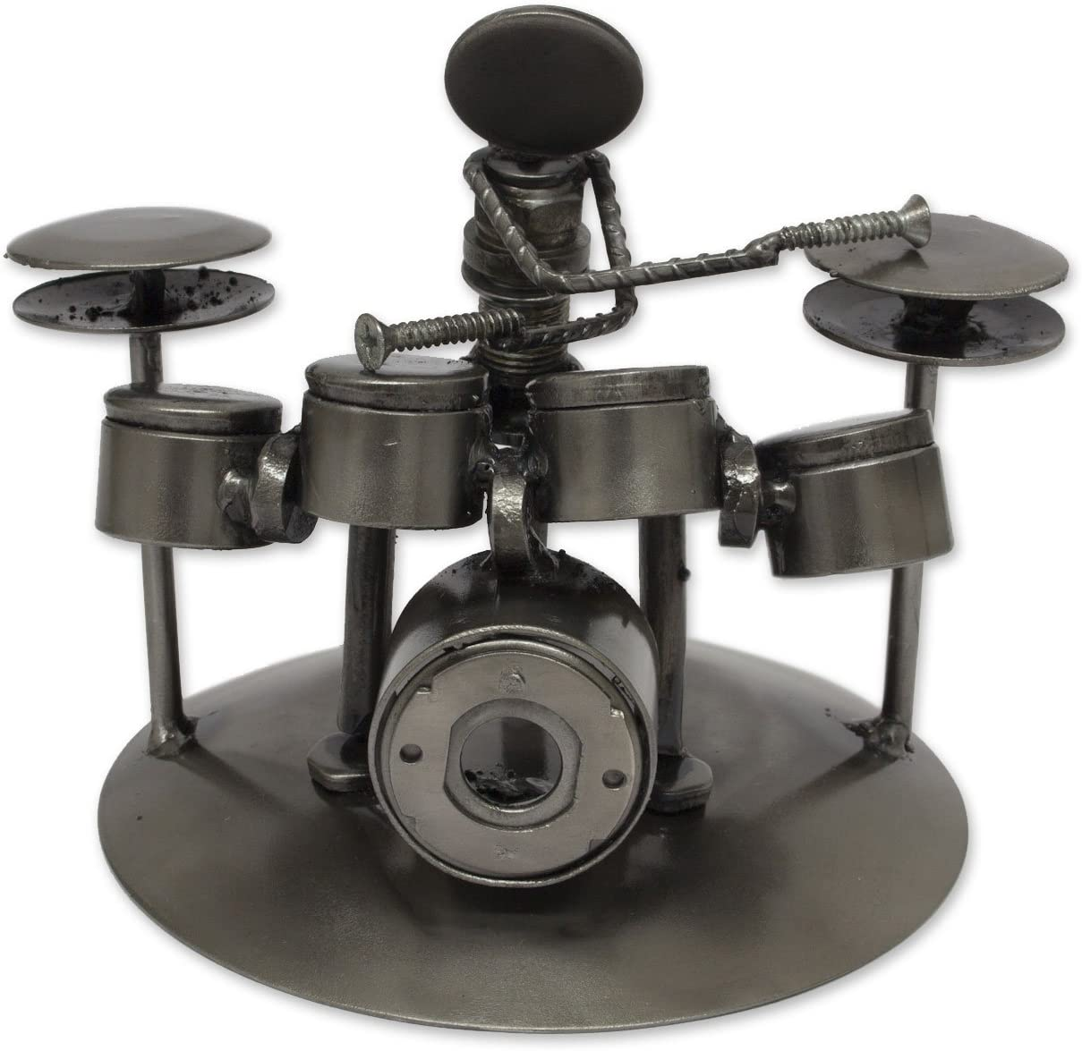 NOVICA Rustic Upcycled Auto Parts Musician Statuette, Rustic Drummer'
