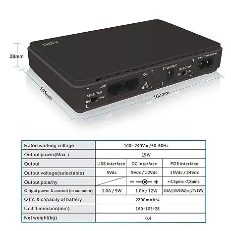 Sistema/Suministro de alimentación ininterrumpida,Mini UPS with PoE, 100V~240V Entrada CA Salida CC 8800mAH Banco de Poder de Alimentación Portátil para ...