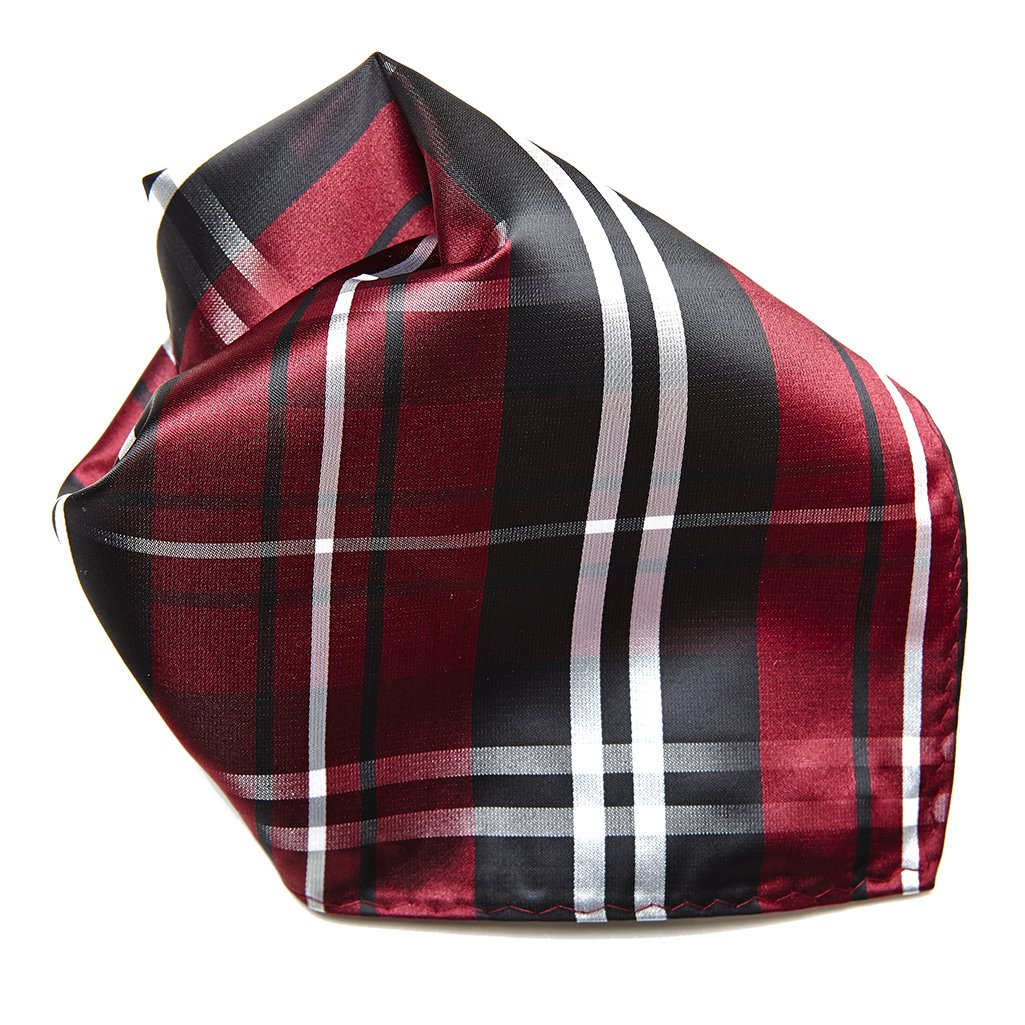 Black Burgundy White Plaid Design Men's Hankerchief Pocket Square Hanky CONCITOR