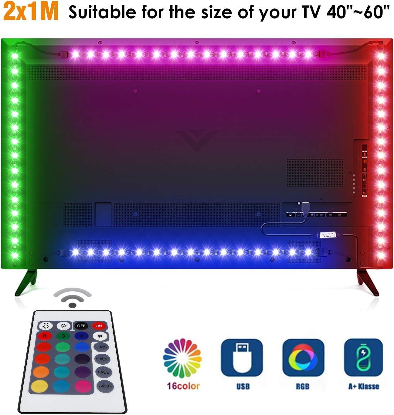 albrillo LED TV Fondo 4 × 50 cm Tira, RGB con Mando a distancia y ...